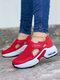 حذاء نسائي كاجوال نقي اللون خطاف وحلقة محبوكة وسادة هوائية للمشي - أحمر