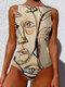 Frauen Graffiti Abstract Print Rundhalsausschnitt One Stück Sleevless Slimming Badeanzug - Aprikose