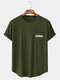 Mens Print Chest Pocket Curved Hem Casual Cotton Short Sleeve T-Shirts - Army Green