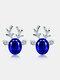 Christmas Crystal Gem Women Ear Stud Stereoscopic Reindeer Earrings - #03