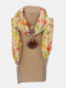 Vintage Chiffon Tassel Women Scarf Necklace Geometric Pendant Flower Leaf Pattern Shawl Necklace - #02