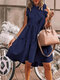 Stringy Selvedge Solid Color Sleeveless Casual Dress For Women - Navy