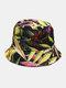 Women & Men Floral Overlay Print Pattern Casual Outdoor Visor Bucket Hat - #04