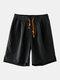 Pantalones cortos casuales con cordón de color sólido para hombres - Negro