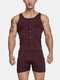 Mens One-Piece Suit Solid Color Fitness Slim Button Bodysuit Home Sleeveless Sport Jumpsuit - Red
