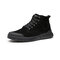 Men Rubber Cap Toe Tight Stitched Pigskin Leather Slip Resistant Tooling Boots - Black