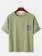 Mens Cartoon Cat Print Solid Color Loose Thin Round Neck Casual T-Shirts - Green
