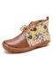 LOSTISY Flowers Pattern Splicing Solid Color Round Toe Comfy Lace-up Flat Ankle Boots - Brown