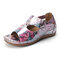 LOSTISY Large Size Hook Loop Flower Pattern Adjustable Summer Sandals