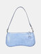 Women PU Alligator Shoulder Bag Handbag - Blue
