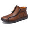 Men Microfiber Leather Hand Stitching Soft Front Zipper  Ankle Boots - Red Brown