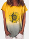 Floral Printed Ombre O-neck Short Sleeve T-shirt - Yellow