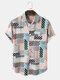 Mens Striped Color Block Lapel Pocket Short Sleeve Shirt - Apricot