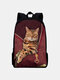 Women Oxford Patchwork Large Capacity Cat Pattern Printing Backpack - Red