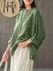 ヴィンテージチェック柄長袖プラスサイズポケット付きだぶだぶブラウス - 緑
