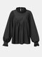 Solid Color Pleated Ruffle Long Lantern Sleeve Casual Blouse for Women - Black