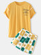 Women Cotton Cartoon Animal Letter Printed Home Pajamas Sets With Pocket - Yellow