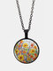 Vintage Glass Printed Women Necklace Colorful Floral Pendant Necklace Jewelry Gift - Brozne