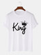 Mens Crown King Print 100% Cotton Casual Short Sleeve T-Shirts - White