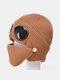 Men & Women Plus Velvet Thick Warm Neck Face Ear Protection Headgear Knitted Hat Mask Pilot Glasses - Brown
