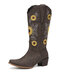 Women Casual Sunflowers Electric Embroidery Pattern Slip On Mid-Calf Cowboy Boots - Coffee