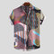 Mens Summer Funny Hit Color Pinstriped Printed Turn Down Collar Short Sleeve Casual Shirts - Colorful