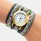 Vintage Colorful Printing Multi-layer Watch Metal Rhinestone PU Quartz Watch - Black