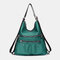 Women 2Pcs Anti theft Solid Casual Backpack Shoulder Bag - Green