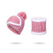 Women Winter Warmer Knitted Face Hat And Neck Collar Scarves Set With Artificial Fur Pompom Hat - Pink