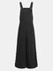 Solid Color Button Long Sleeveless Casual Jumpsuit for Women - Black