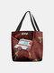 Women Ambulance Pattern Prints Handbag Shoulder Bag Tote - Red