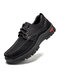 Men Stitching Leather Slip Resistant Comfy Soft Lace Up Casual Shoes - Black