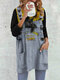 Funny Cat Print V-neck Long Sleeve Plus Size Blouse with Pocket - Grey