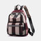 Women Striped Color Block Large Capacity Anti-theft Backpack - Wine Red