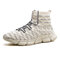 Men Knitted Fabric Breathable High Top Sport Running Sneakers - Beige