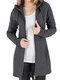 Cappotto di taglia Plus con cerniera con coulisse in tinta unita casual - Grigio scuro