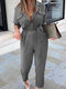 Solid Color V-neck Casual Long Sleeve Jumpsuit For Women - Gray