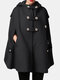Solid Color Button Pocket Long Sleeve Casual Cape Coat for Women - Black