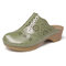 LOSTISY Closed Toe Hollow Out Stitching Backless Slip On Casual Clogs - Army