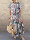 Vintage Flowers Print Plus Size Maxi Dress - White