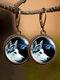Vintage Animal Printed Women Earrings Cat Dog Glass Pendant Earrings - #02