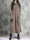 Vintage Corduroy Pocket Long Sleeve Casual Midi Dress - Beige