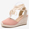 LOSTISY Women Wearable Ankle Lace Up Espadrilles Wedges Sandals - Pink