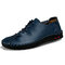 Men Cow Leather Hand Stitching Non Slip Soft Sole Casual Shoes - Blue