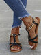 Large Size Women Casual Chain Design Flat Shoes Beach Holiday Antiskid T-Strap Sandals - Black