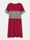 Leopard Print Patchwork O-neck Short Sleeve Plus Size Dress for Women - Wine Red