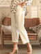 Summer Solid Casual Shift Solid Pants With Pocket For Women - Beige