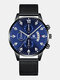 14 Colors  Alloy Mesh Band Men Business WatchDecorated Pointer Calendar Quartz Watch - Black Band Blue Dial Silver Poin