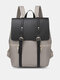 Retro Faux Leather Magnetic Snap Waterproof Wear-resisting Large Capacity Backpack - Khaki And Black