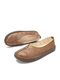 Literature and Art Retro Hollow out Round Toe Casual  Comfortable Flats - Khaki